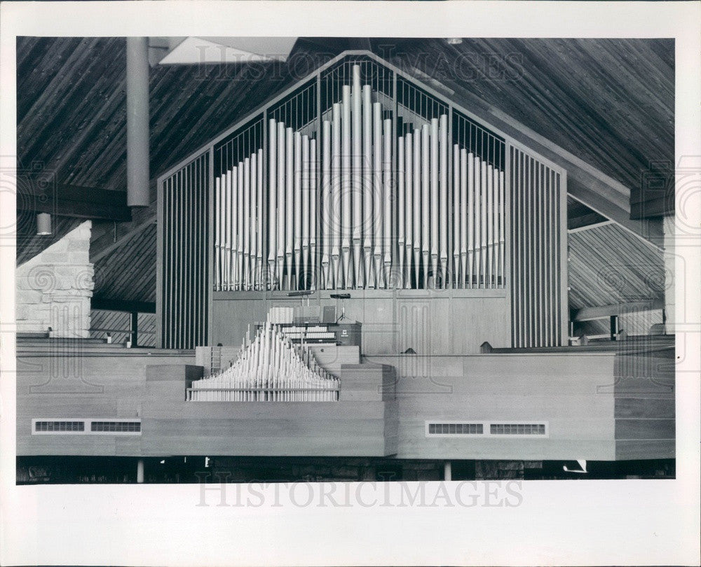 1967 St Petersburg, Florida Grace Lutheran Church Pipe Organ Press Photo - Historic Images