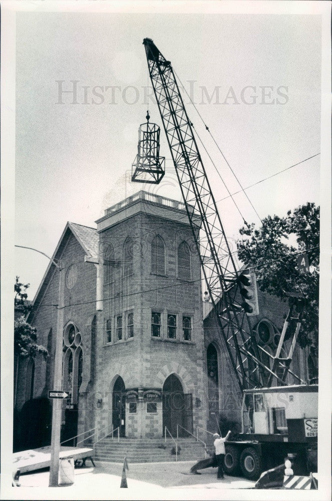 1972 St Petersburg, FL First Congregational Church New Steeple Press Photo - Historic Images