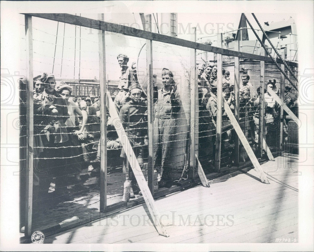 1945 Boston, MA Army Transport Carrying Prisoners of War Press Photo - Historic Images