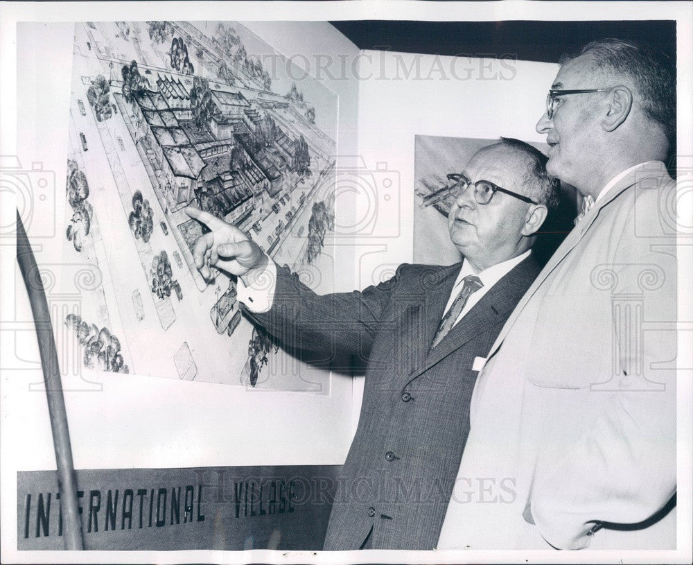 1960 Detroit, MI International Village Plans, Mayor Louis Miriani Press Photo - Historic Images