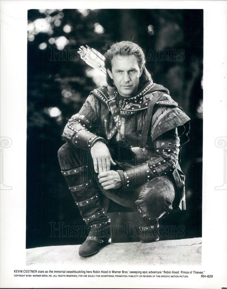 1991 American Hollywood Actor Kevin Costner in Robin Hood Press Photo - Historic Images