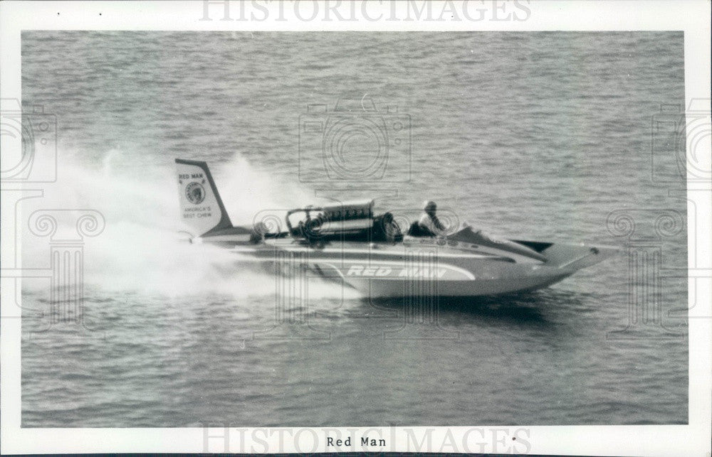 1974 St Petersburg, Florida Hydroplane Boat Red Man Press Photo - Historic Images