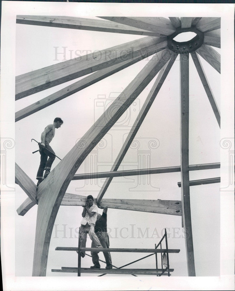 1964 Clearwater, Florida Chamber of Commerce Roof Construction Press Photo - Historic Images