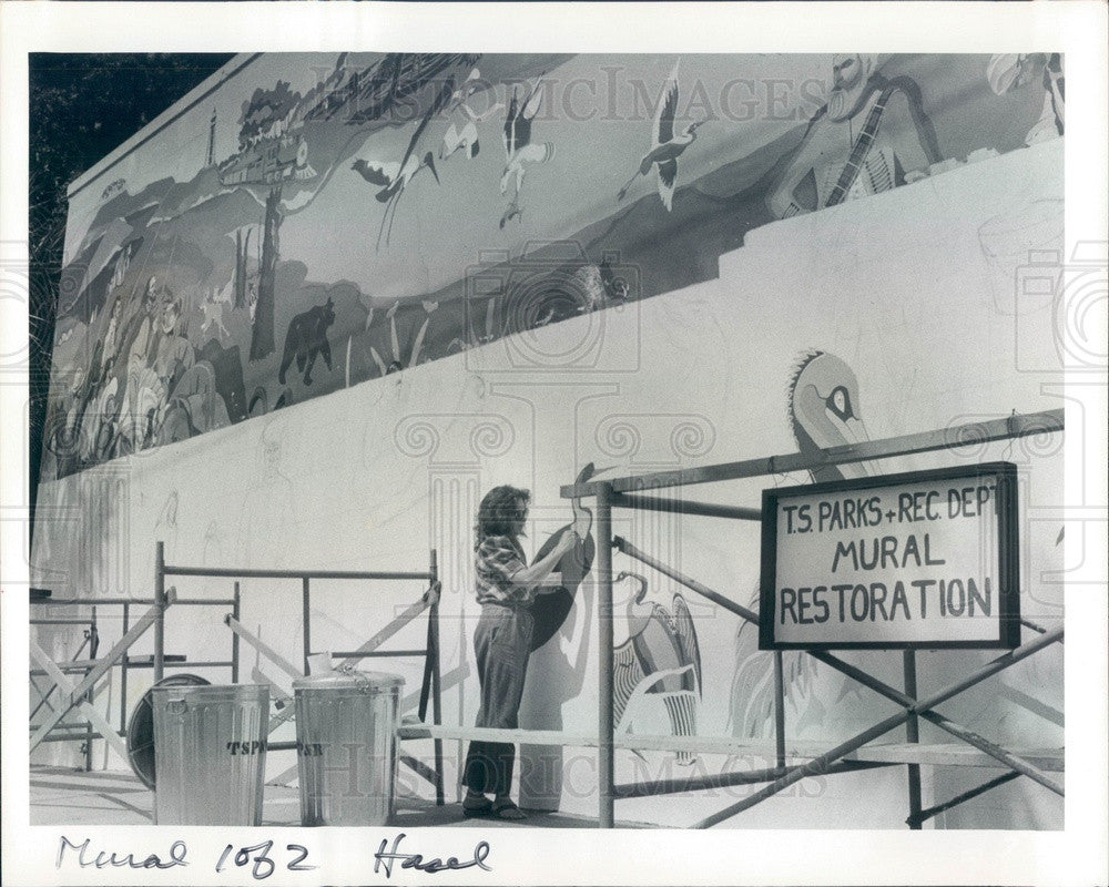 1984 Tarpon Springs, Florida Artist Liz Indianos & Mural Restoration Press Photo - Historic Images