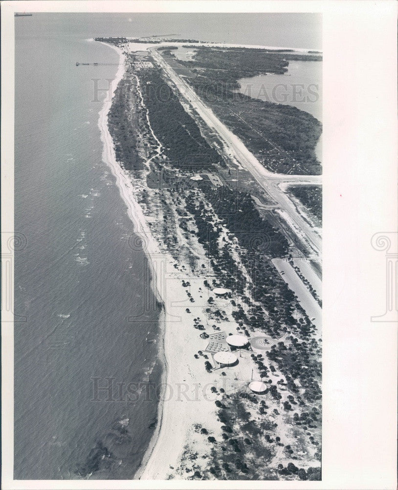 1965 Pinellas County, Florida Fort De Soto Park Aerial View Press Photo - Historic Images