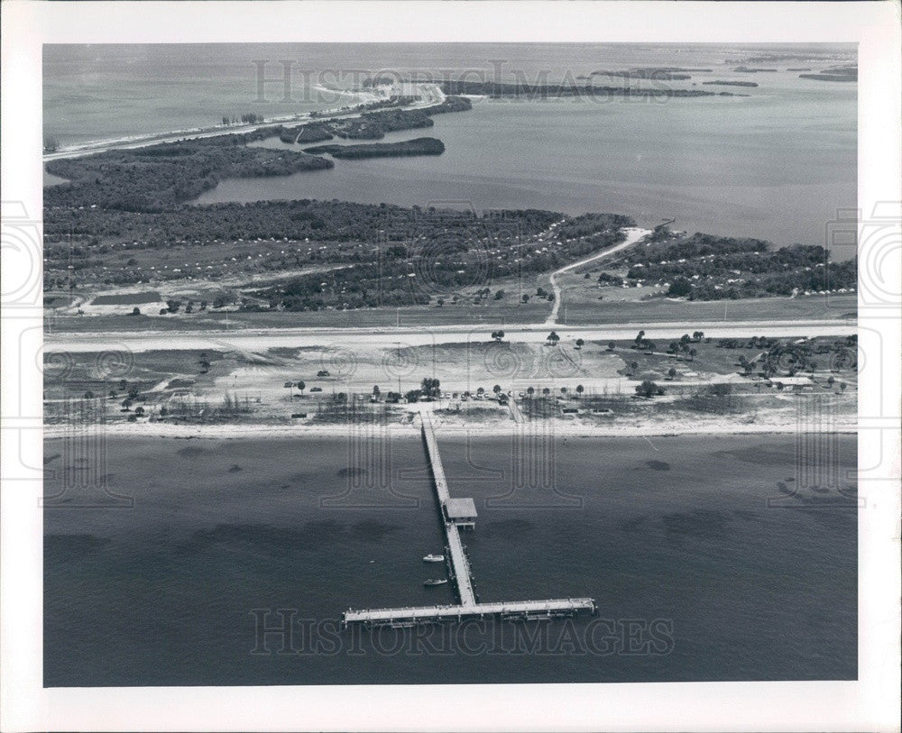 Undated Pinellas County, FL Fort De Soto Park Fishing Pier Aerial Press Photo - Historic Images