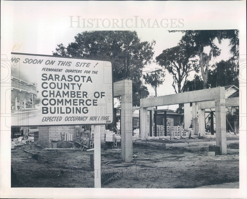 1966 Sarasota County, FL Chamber of Commerce Building Construction Press Photo - Historic Images