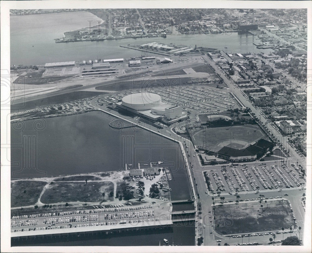 1966 St Petersburg, FL Aerial View, Bayfront Center, Al Lang Field Press Photo - Historic Images