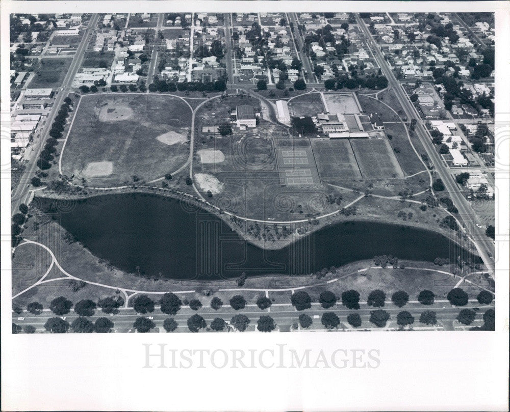 1963 St Petersburg, Florida Aerial View, Bartlett Park Press Photo - Historic Images