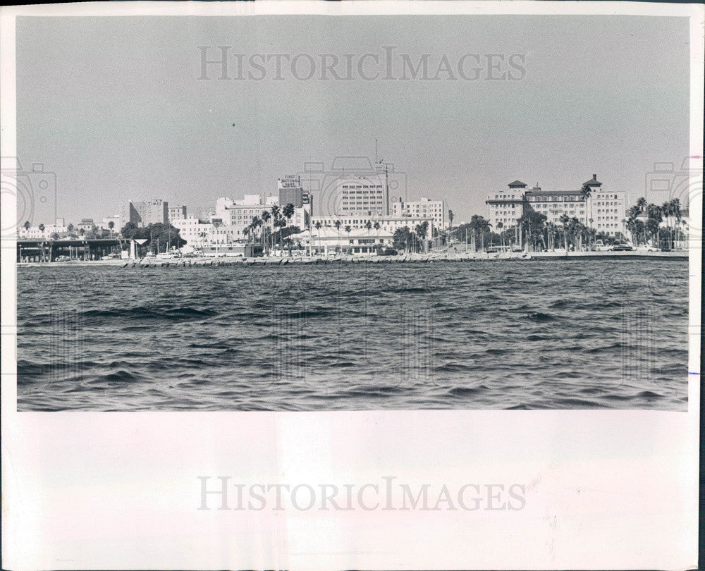 1965 St Petersburg, Florida Waterfront & Skyline Press Photo - Historic Images