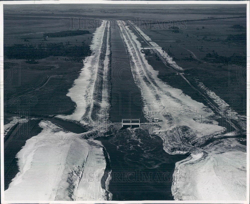 1961 Florida Flood Control, Harney Pond Canal & Structure 70 Aerial Press Photo - Historic Images
