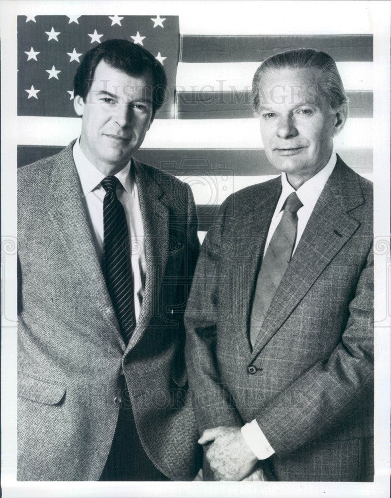 1984 ABC News Anchormen Peter Jennings & David Brinkley Press Photo - Historic Images