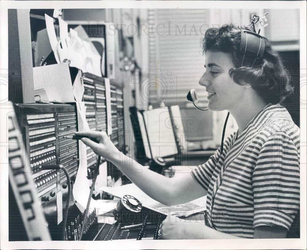 1965 St Petersburg, Florida Times Switchboard Operator Joyce Orman Press Photo - Historic Images