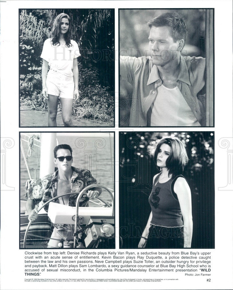 1998 Actors Denise Richards/Kevin Bacon/Neve Campbell/Matt Dillon Press Photo - Historic Images