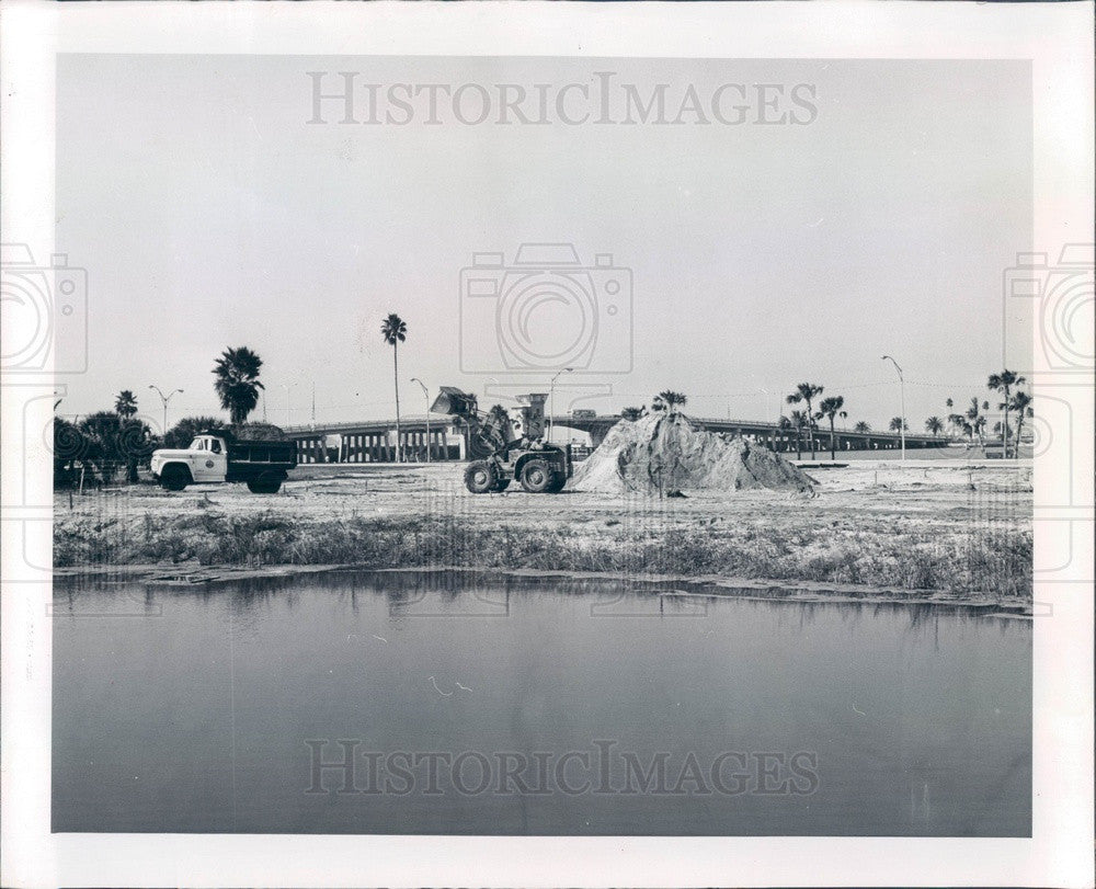 1966 Clearwater, Florida Downtown Park Construction Press Photo - Historic Images