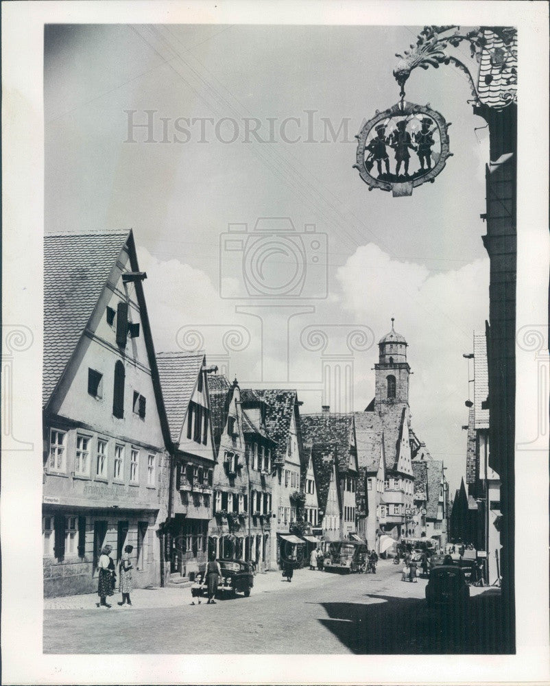 1956 Dinkelsbuehl, Germany Picturesque Town Press Photo - Historic Images