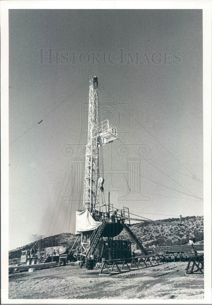 1980 Evanston, WY Amoco Drilling Rig in Whitney Canyon Gas Field Press Photo - Historic Images