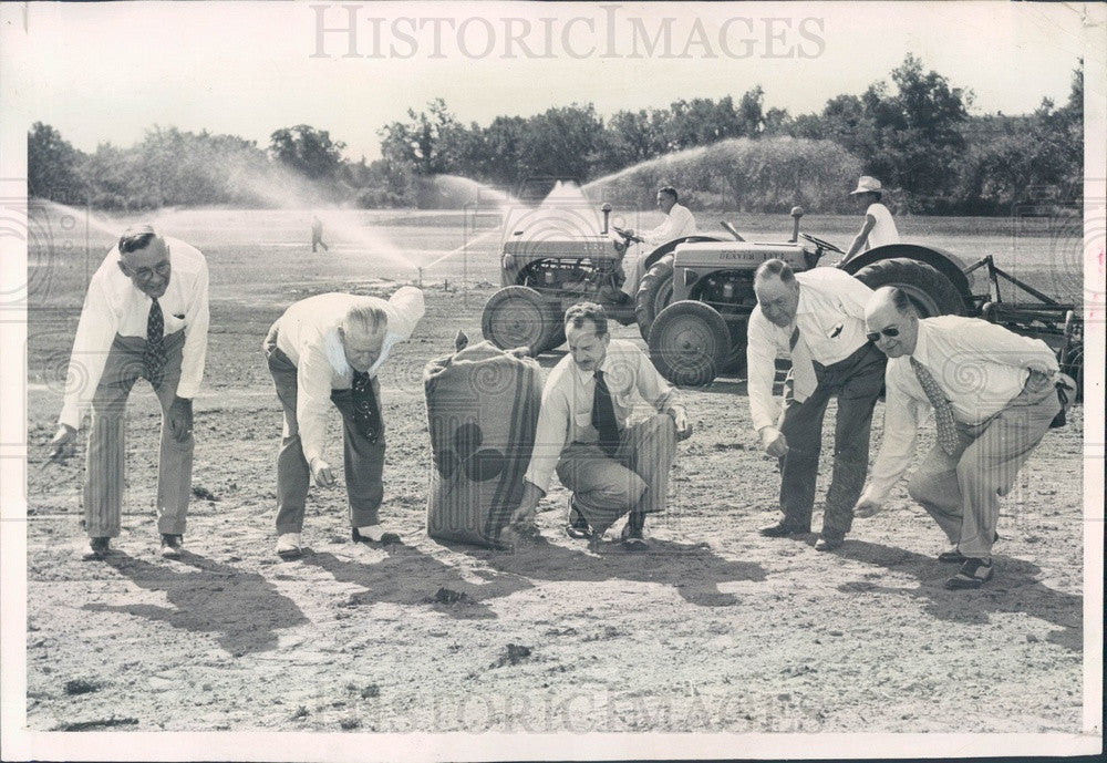 1952 Denver, CO Seed Sown for Baseball Diamond at Old City Park Press Photo - Historic Images
