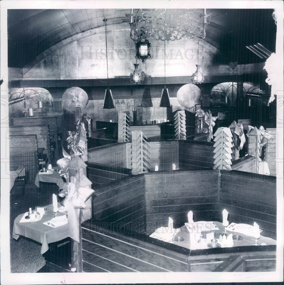 1968 Southfield, Michigan Vineyards Restaurant Interior Press Photo - Historic Images