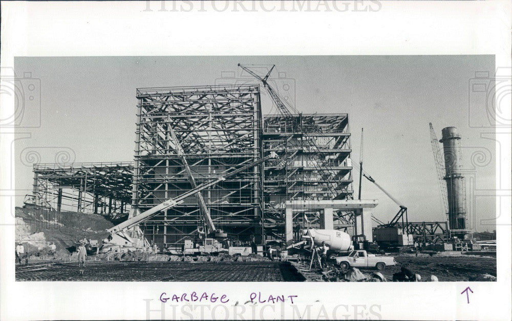 1982 St Petersburg, Florida Garbage Plant Construction Press Photo - Historic Images