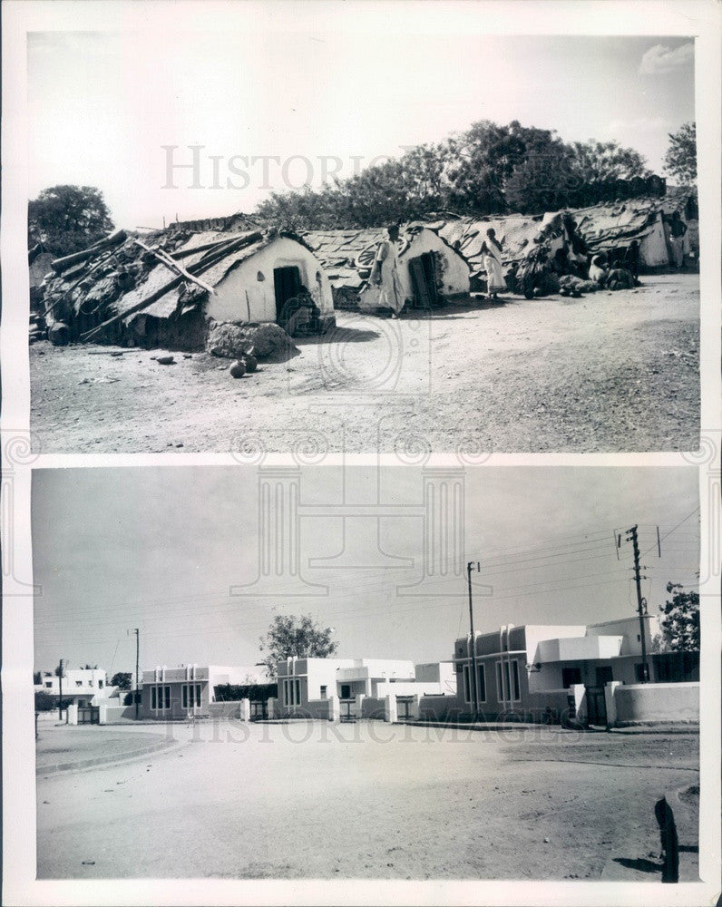 1946 Hyderabad, India Mud Huts & New Homes for the Poor Press Photo - Historic Images