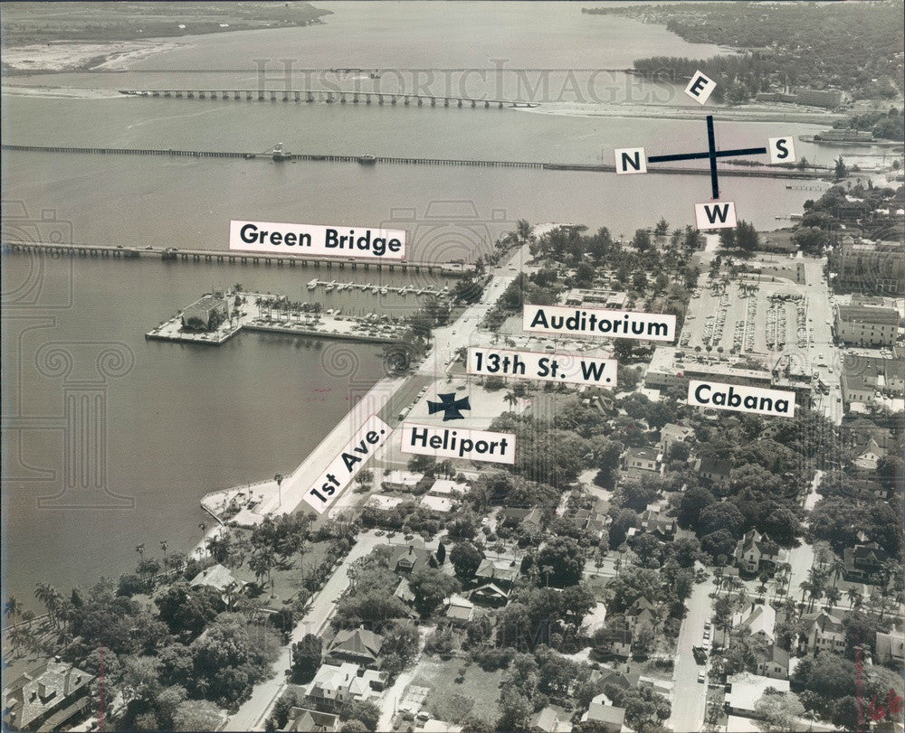 1960 Bradenton, Florida Aerial View, Green Bridge, Cabana Motel Press Photo - Historic Images