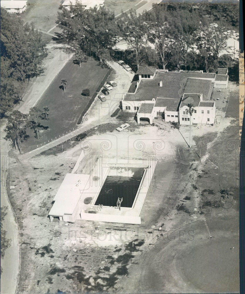 1960 Bradenton, Florida Country Club Pool Construction Aerial View Press Photo - Historic Images