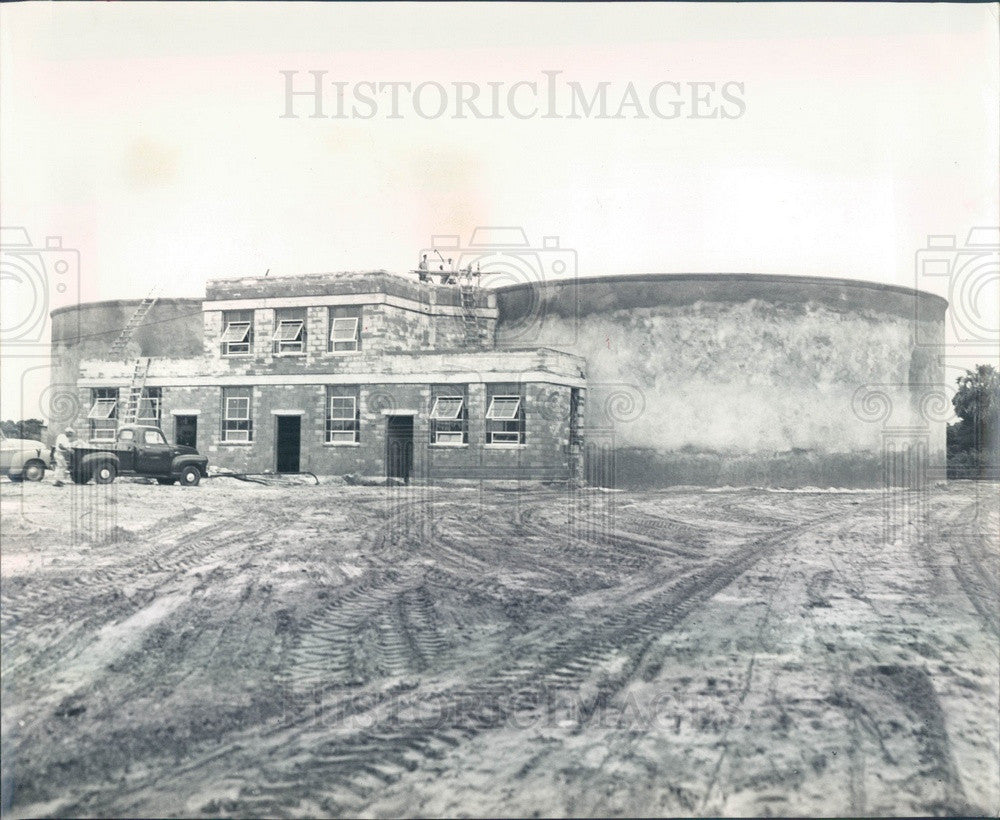 1955 Bradenton, Florida Sewage Disposal Plant Construction Press Photo - Historic Images
