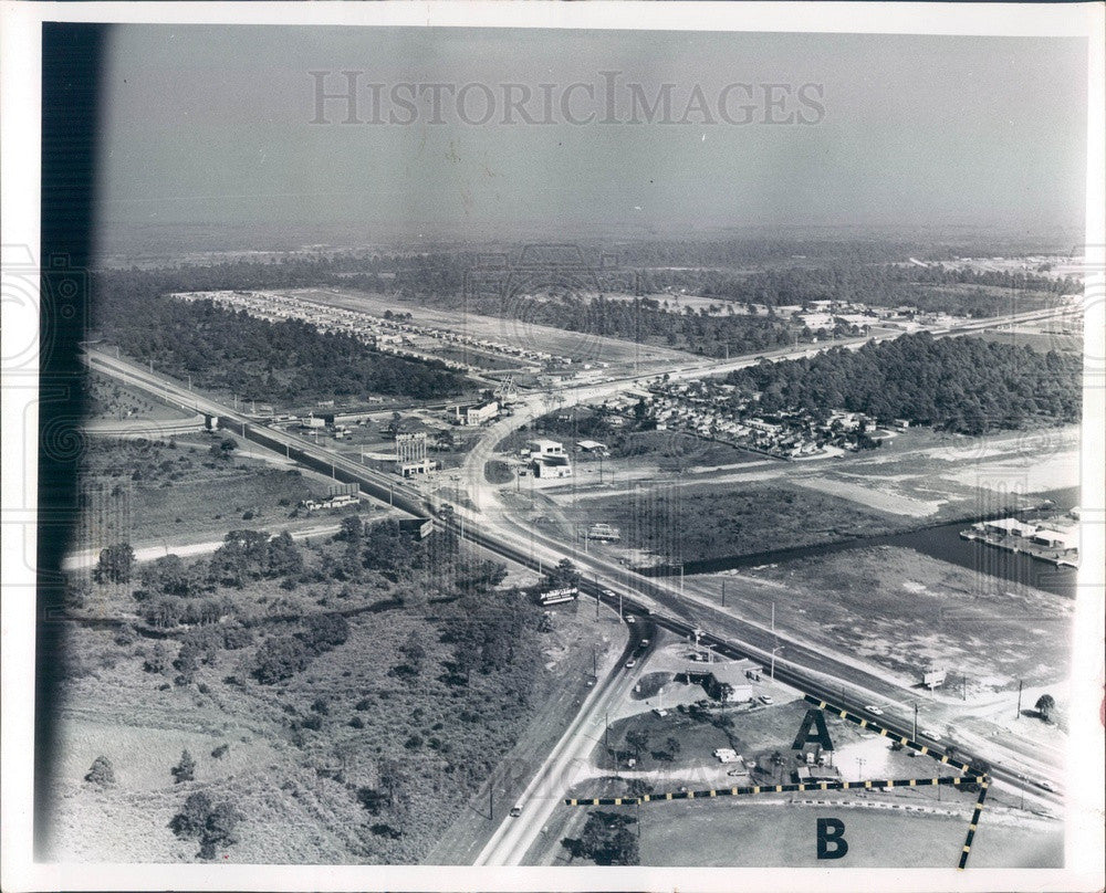 1965 St Petersburg, Florida 4th & Gandy Intersection Aerial View Press Photo - Historic Images