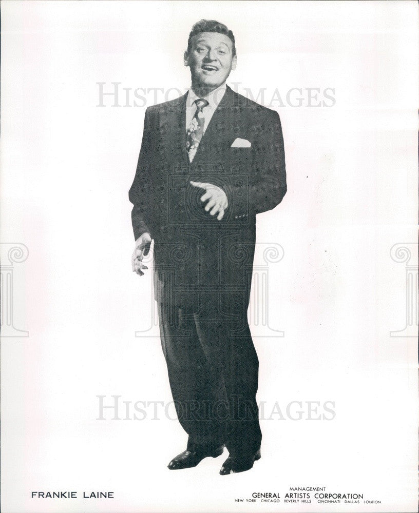 1953 American Singer/Songwriter/Actor Frankie Laine Press Photo - Historic Images