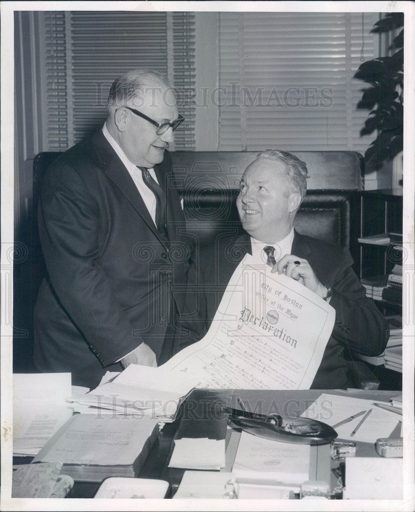 1960 Boston, MA Mayor John Collins & Robert Sternburg, New England Press Photo - Historic Images