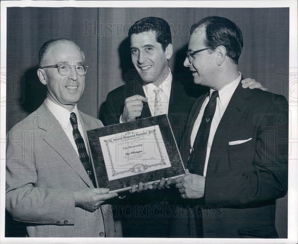 1956 Boston, MA Jewish Hospital Pres David Stern, Actor Hal March Press Photo - Historic Images