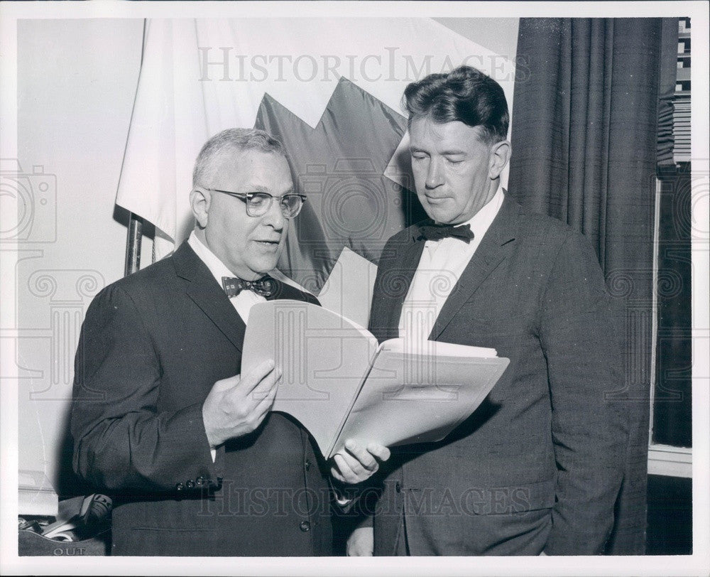 1958 Brookline, MA Red Cross Chairman Meyer Stern & Thomas Connelly Press Photo - Historic Images