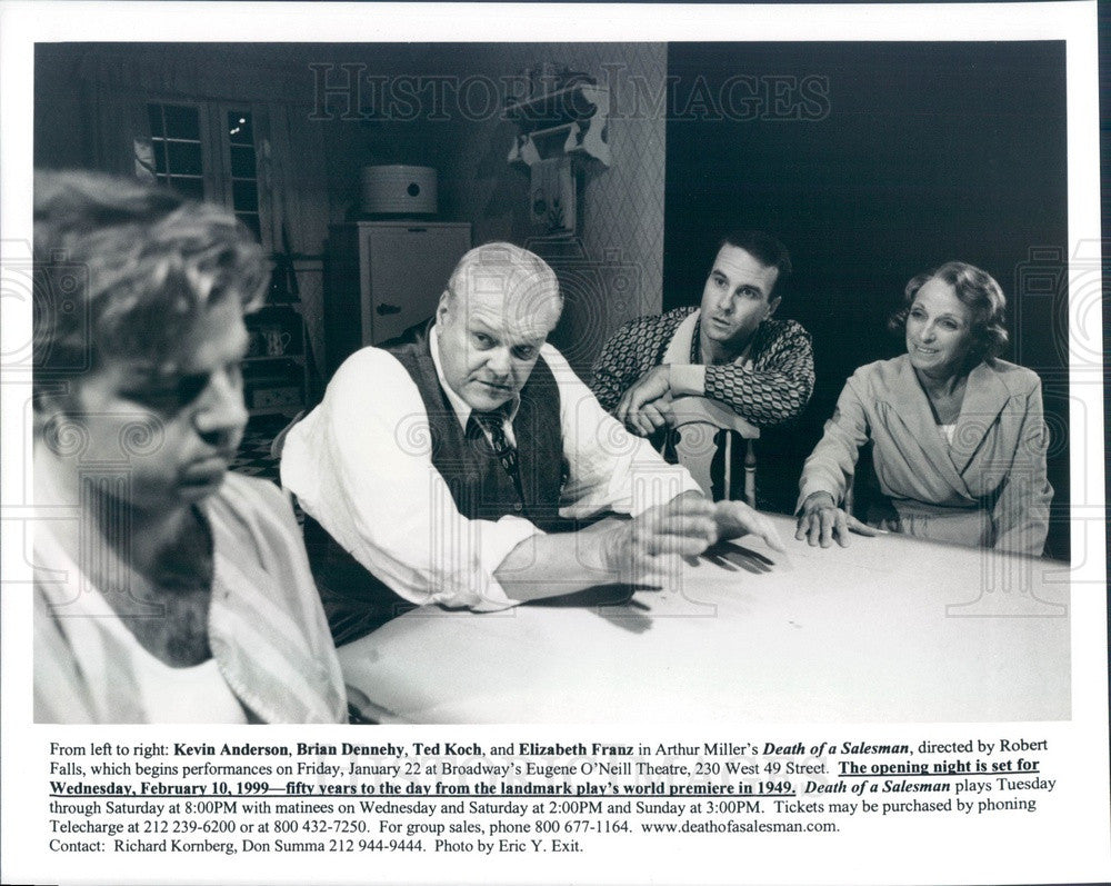 1999 Actors Kevin Anderson, Brian Dennehy, Ted Koch, Elizabeth Franz Press Photo - Historic Images