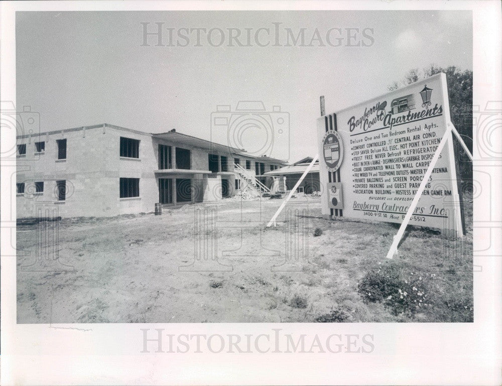 1968 St. Petersburg, Florida Bayberry Court Apartments Construction Press Photo - Historic Images
