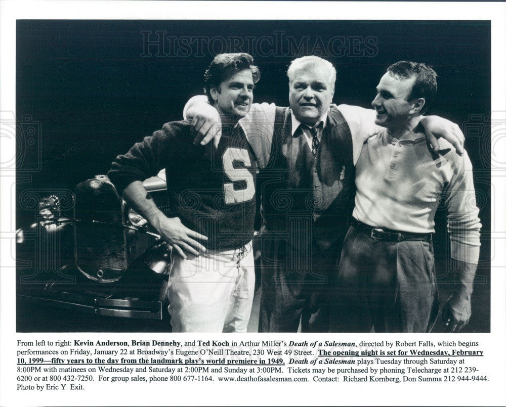 1999 Actors Kevin Anderson, Brian Dennehy, Ted Koch Press Photo - Historic Images
