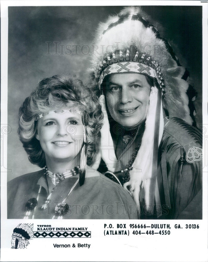 1990 Southern Gospel Singers Vernon & Betty Klaudt Indian Family Press Photo - Historic Images