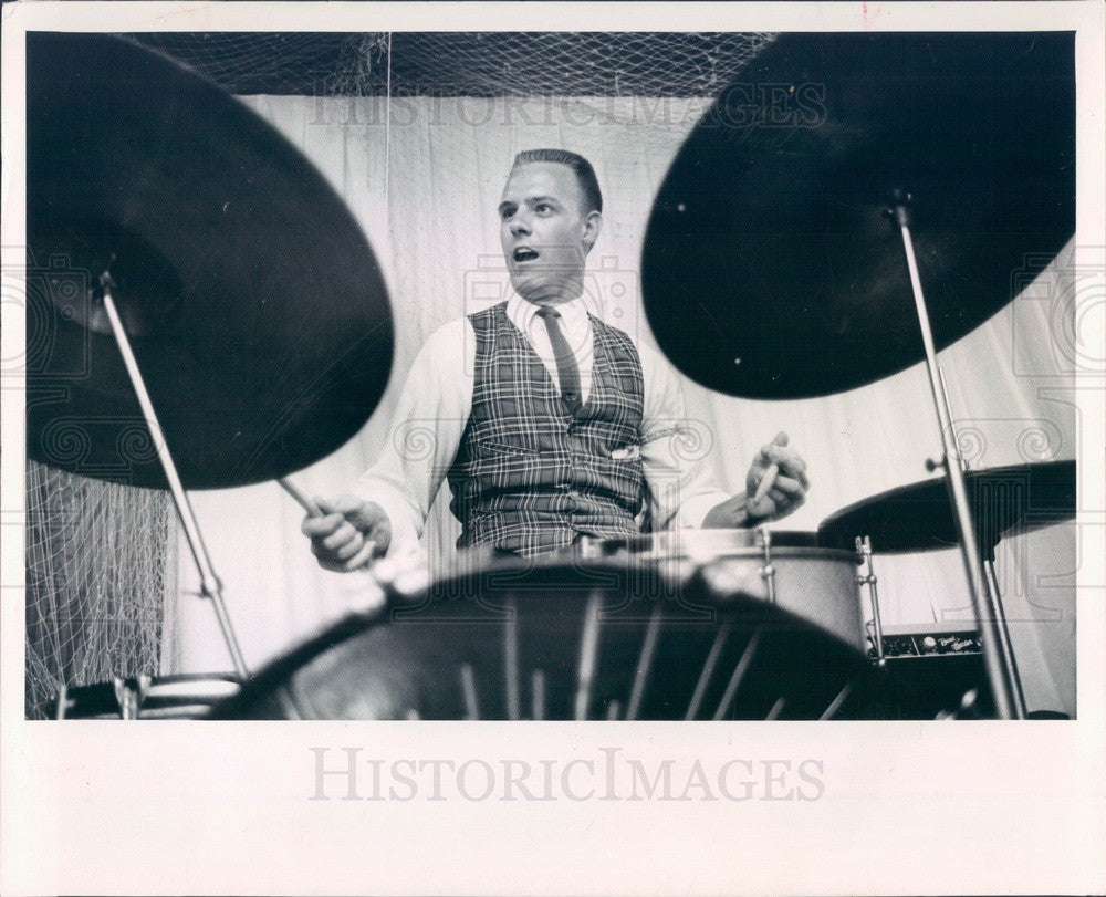 1963 English Rock Band The Roaring 20's Drummer Skip Pittman Press Photo - Historic Images