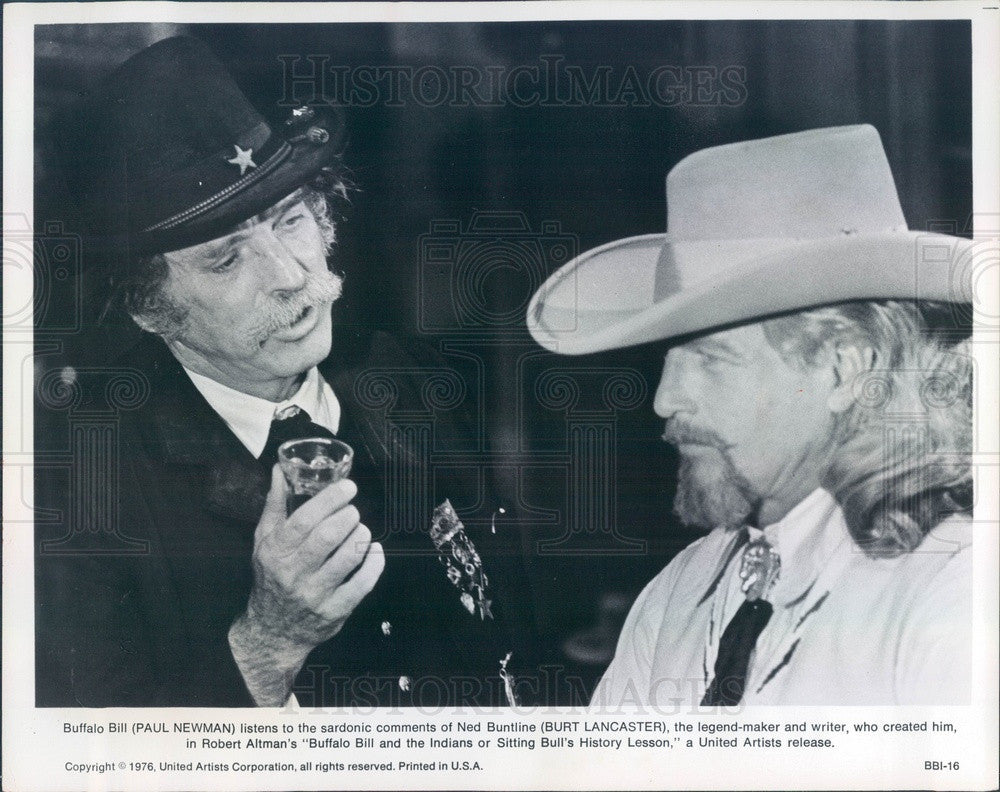 1976 American Hollywood Actors Paul Newman & Burt Lancaster Press Photo - Historic Images