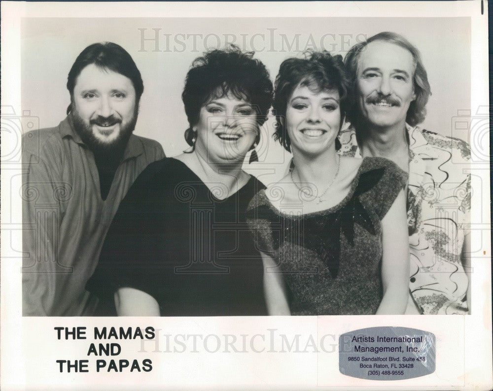 1986 American/Canadian Vocal Music Group The Mamas and the Papas Press Photo - Historic Images