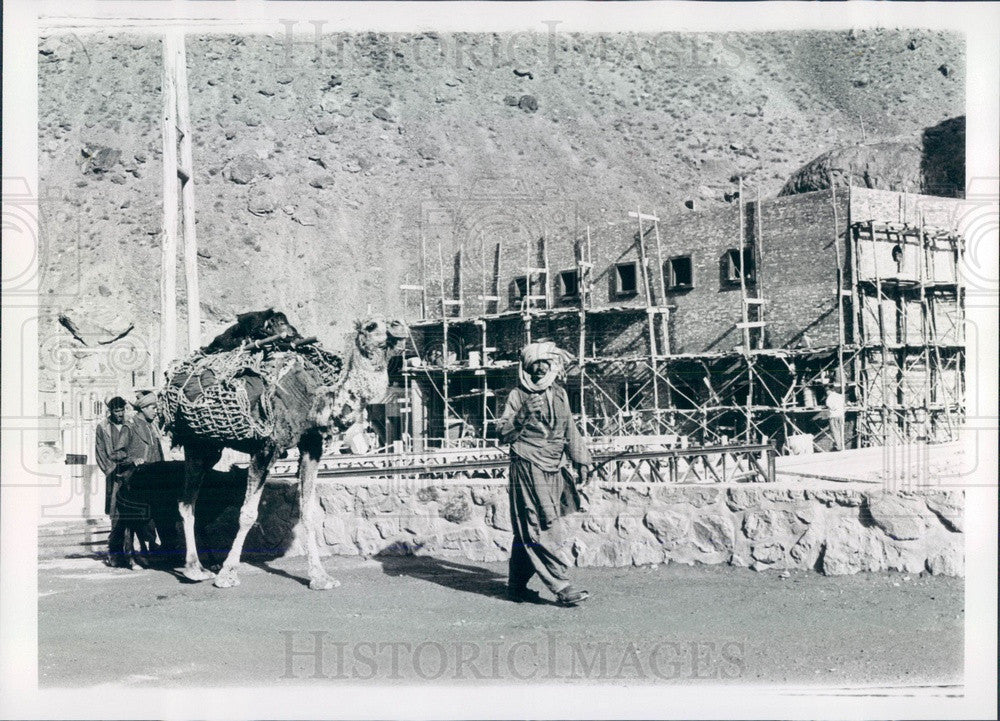 1966 Kabul, Afghanistan Native Leading Camel at Dam Site Press Photo - Historic Images