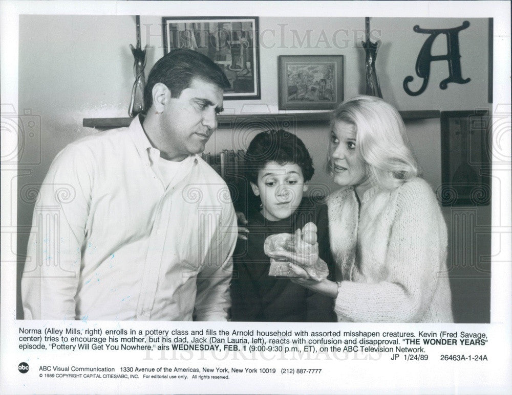 1989 Hollywood Actors Alley Mills/Fred Savage/Dan Lauria Press Photo - Historic Images