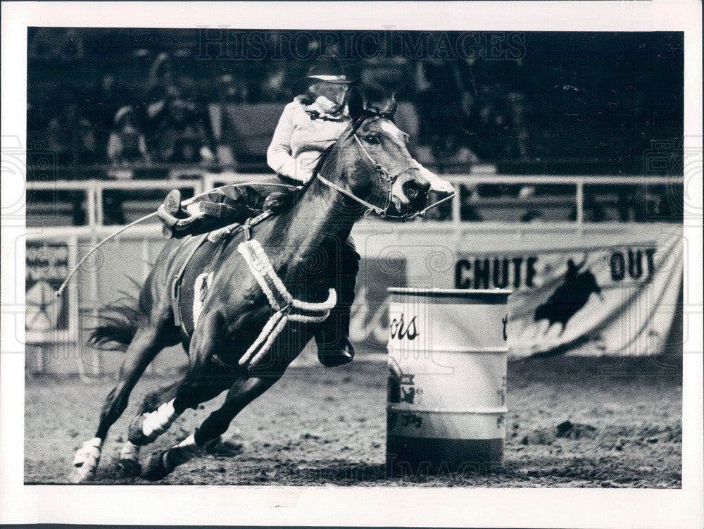 1984 Denver, Colorado Rodeo Rider Shanna Bush Press Photo - Historic Images