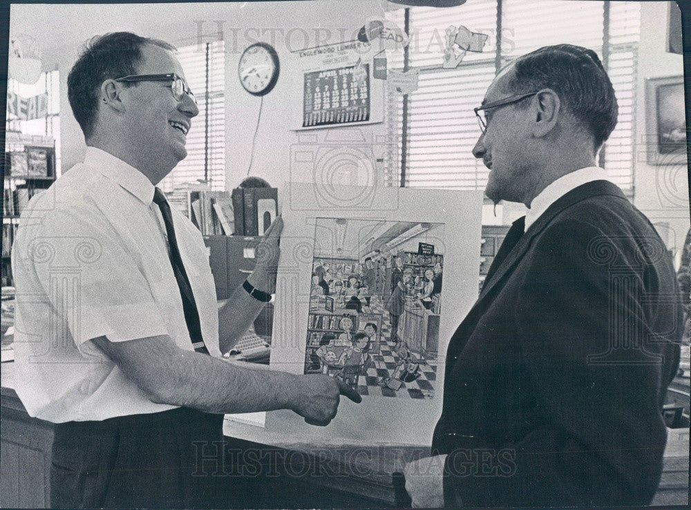 1964 Englewood, Colorado Artist Paul Busch & Librarian George Hertz Press Photo - Historic Images