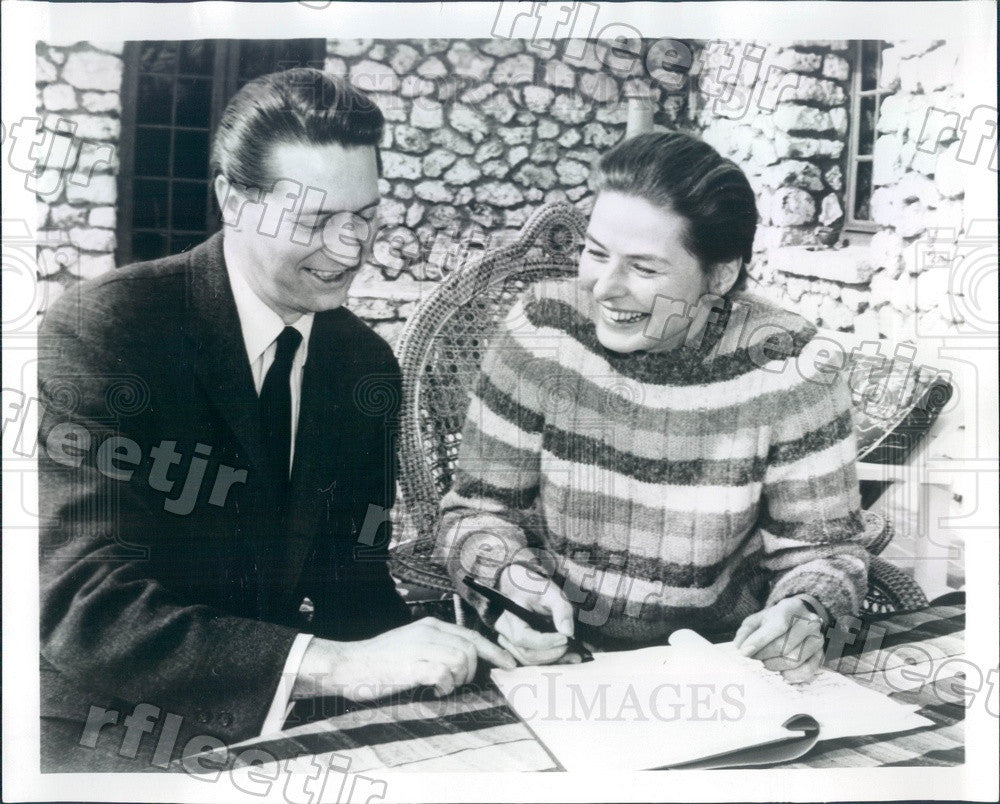 1967 Award Winning Actress Ingrid Bergman & Elliot Martin Press Photo adr439 - Historic Images