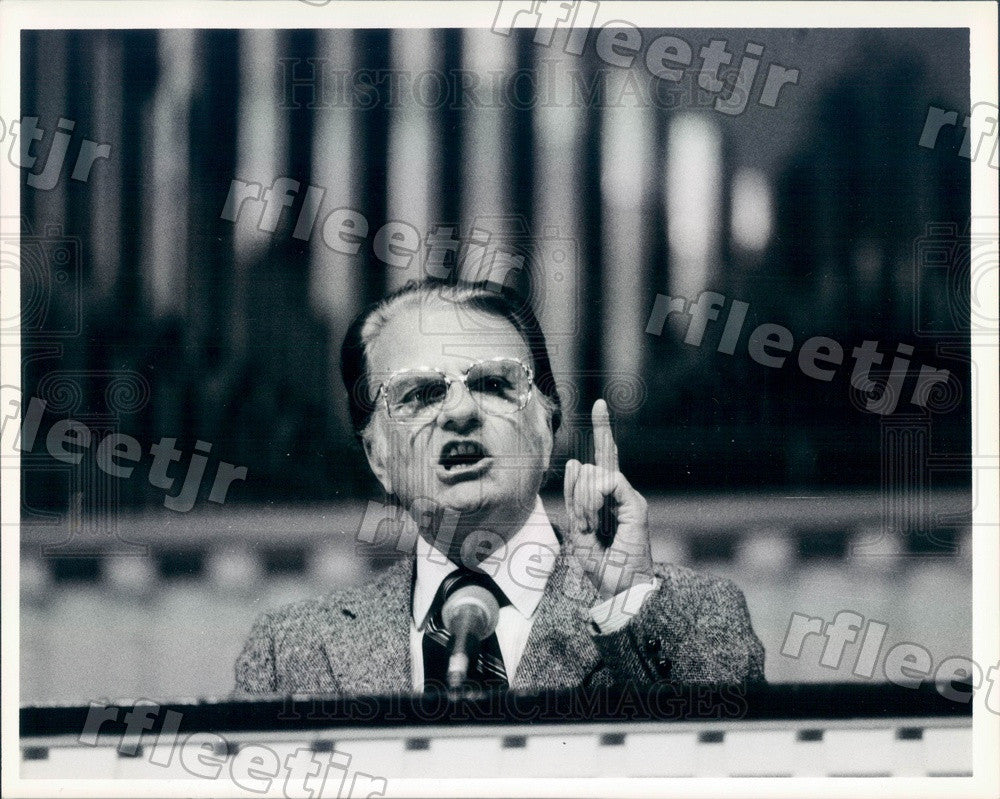 1985 American Christian Evangelist Dr. Billy Graham Press Photo ads137 - Historic Images