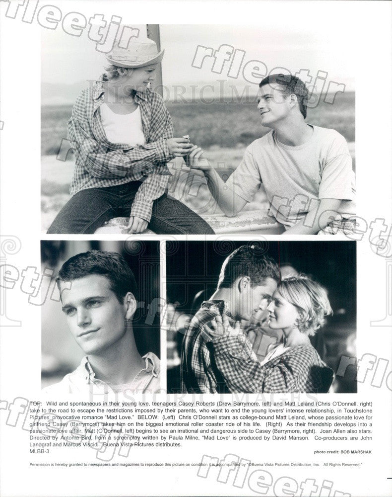 Undated Actors Drew Barrymore & Chris O'Donnell in Mad Love Press Photo adt129 - Historic Images
