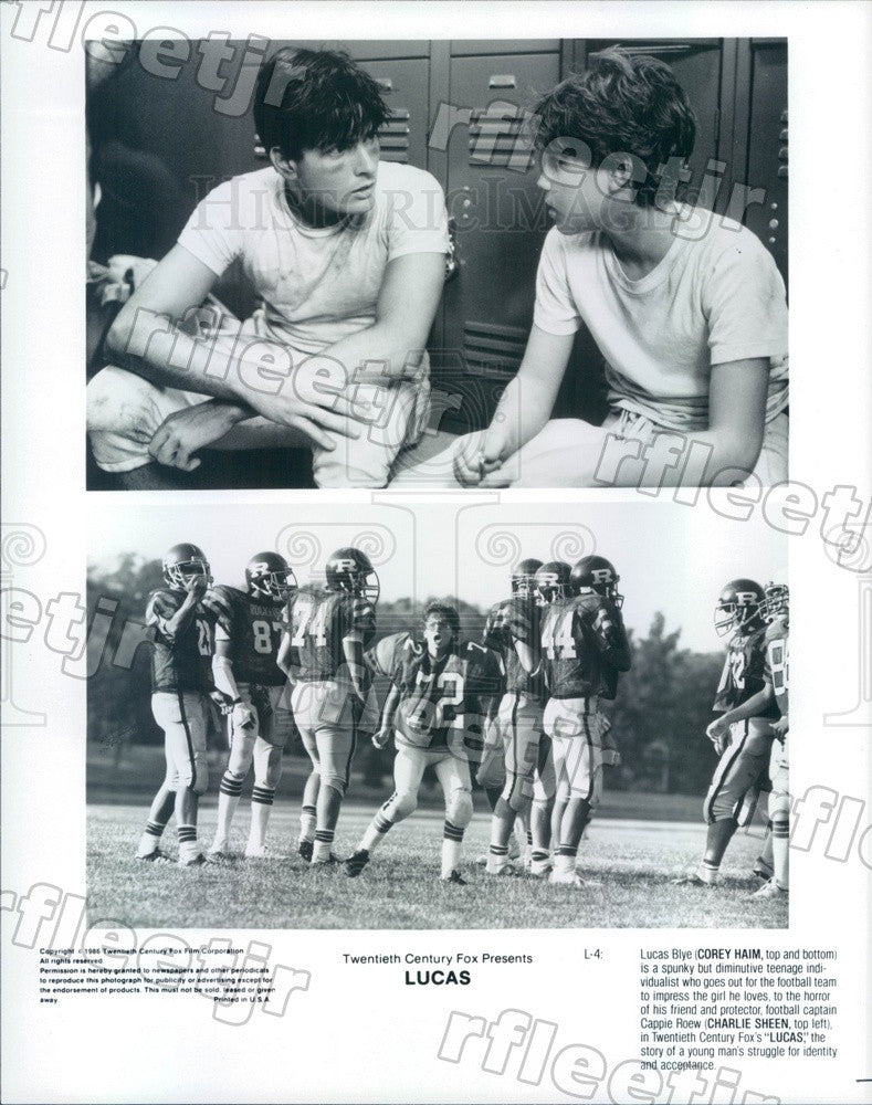1986 Actors Corey Haim & Charlie Sheen in Film Lucas Press Photo adt191 - Historic Images