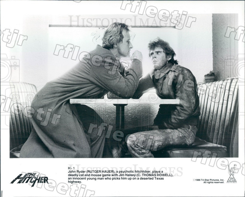 1986 Actors Rutger Hauer & C. Thomas Howell in The Hitcher Press Photo adt535 - Historic Images
