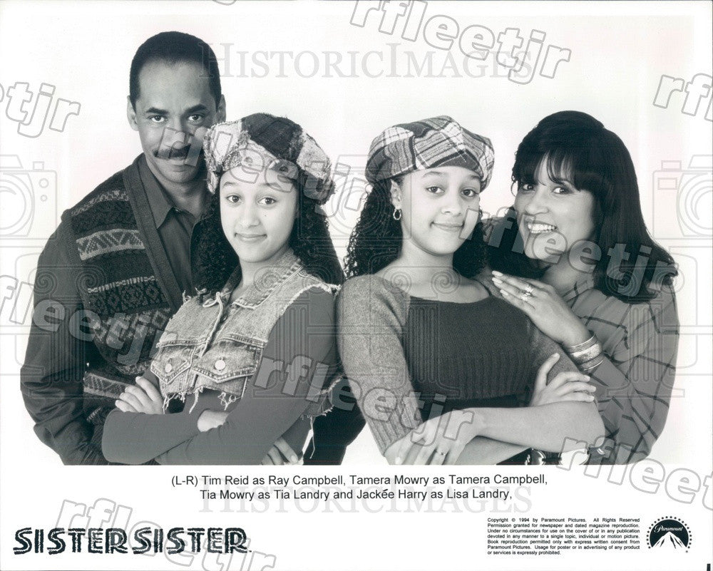 1994 Actors Tim Reid, Jackee Harry, Tia & Tamera Mowry on TV Press Photo adu349 - Historic Images